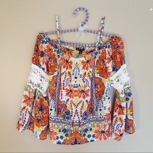 NWT As U Wish floral lace cropped blouse size XS
